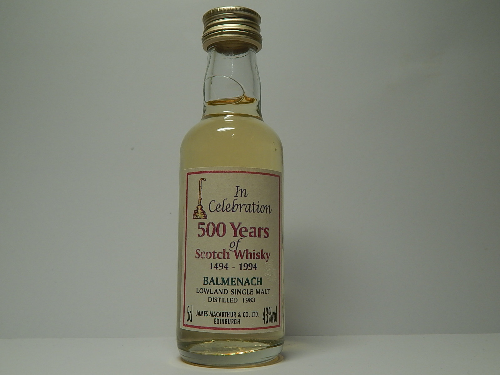 "500years LSMSW 1983 ""James MacArthur´s"" 5cl 43%vol"