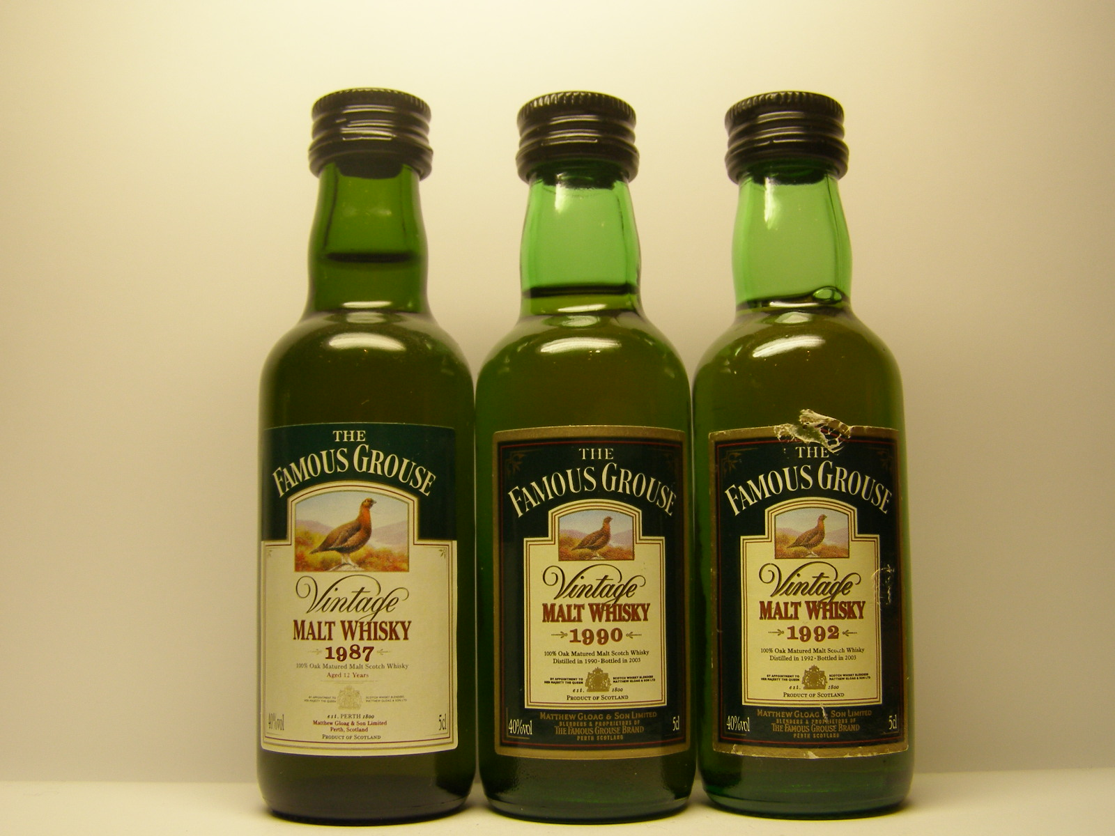 Famous Grouse MW 1987 , MW 1990 , MW 1992