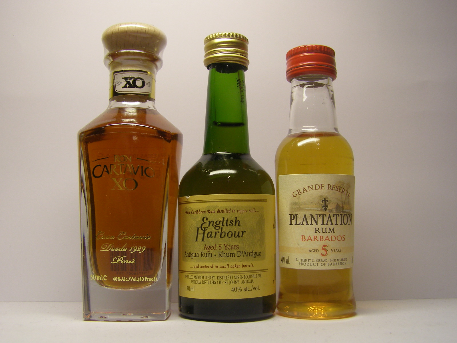 CARTAVIO XO , ENGLISH HARBOUR 5yo , PLANTATION 5yo